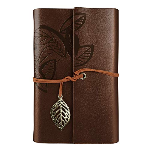 (Leather Journal Writing Notebook - Leather Bound Daily Notepad for Men & Women Unlined Paper Medium 7 x 5 inches, Best Gift for Art Sketchbook, Travel Diary & Notebooks to Write in)