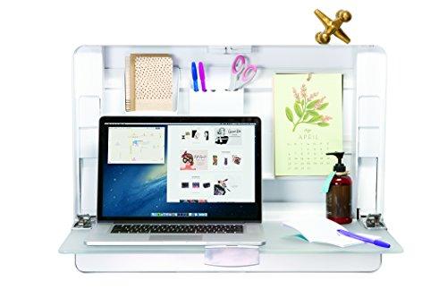 ErgotronHome Workspace Wall Mounted, Height-Adjustable Standing Desk & Organizer (HUB27 White) by ErgotronHome (Image #1)