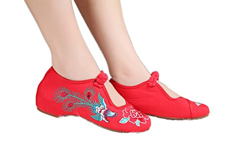 AvaCostume Chinese Traditional Embroidery Girls Holloween Party Shoes Red xNFt7