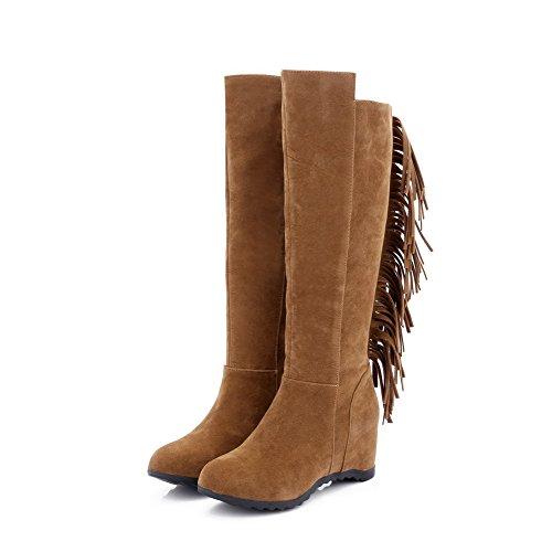 Allhqfashion Womens High-top Pull-on Frosted Hoge Hakken Ronde Gesloten Teen Laarzen Camel