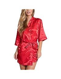CieKen Women Kimono Robes Peacock and Blossom Print Silk Short Sleep Robe