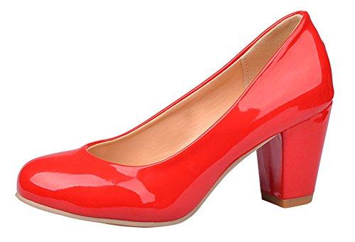 Talons Escarpins Cheville Bride Unie Aisun Femme Couleur Mode Rouge Bloc qPwHxWRESO