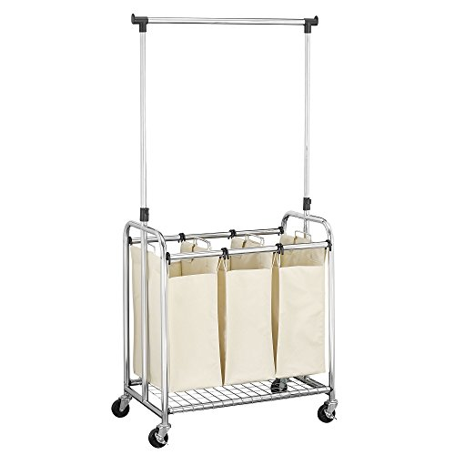 3-Bag Laundry Sorter with Clothes Rack by Household Essentia