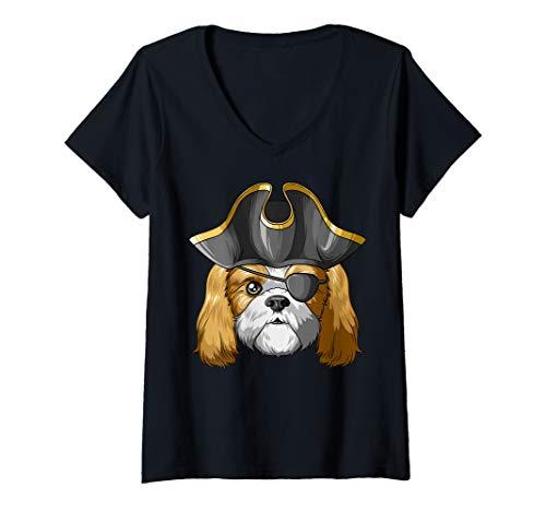 Womens Pirate Shih Tzu Pirates Hat Shih Tzu V-Neck T-Shirt