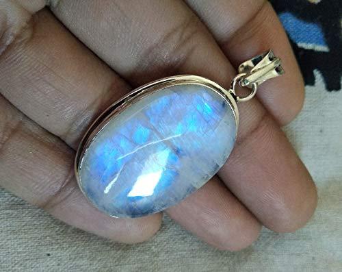 Genuine Moonstone Pendant, 925 Sterling Silver, Blue Flash Pendant, Genuine Pendant, Gypsy Jewelry, Large Pendant, Birthstone Pendant, Vintage Jewelry, Delicate Pendant, Boho Pendant, Hippie Pendant