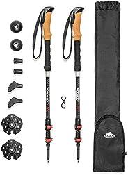 Cascade Mountain Tech Trekking Poles - Carbon Fiber Walking or Hiking Sticks with Quick Adjustable Locks (Set