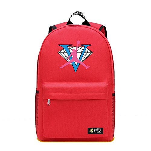 6c48d7e73f99f6 YOURNELO Pure Color Jordan Rucksack School Backpack Bookbag for Boys Girls  (Red 3)