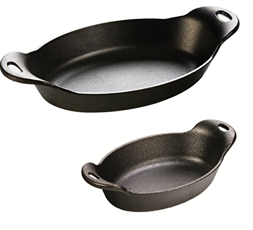 Lodge Heat Enhanced and Seasoned Cast Iron Oval Serving Dish Bundle of Two: 16 Ounce and 32 Ounce (Dish 16oz Casserole)
