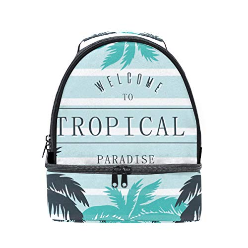 Insulated Bag Adjustable Tropical Print Palm Strap Cooler Pincnic Shoulder Lunch with FOLPPLY School Tote Box for SaTqXc11y