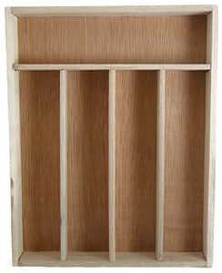 Birchwood utensil cutlery 5 compartment for Vertical silverware organizer