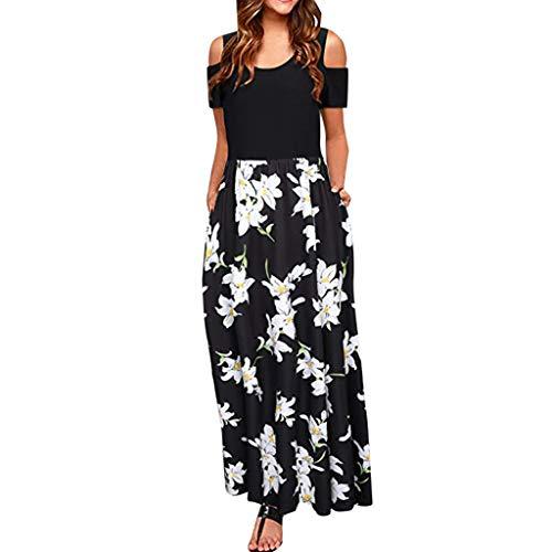 MURTIAL Women' Long Dress Cold Shoulder Poet Floral Print Elegant Maxi Short Sleeve Casual Dress Party Dress(Bla,XL)