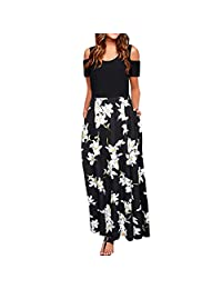 KpopBaby Dresses for Women, Women' Cold Shoulder Pocket Floral Print Elegant Maxi Short Sleeve Casual Dress Racerback