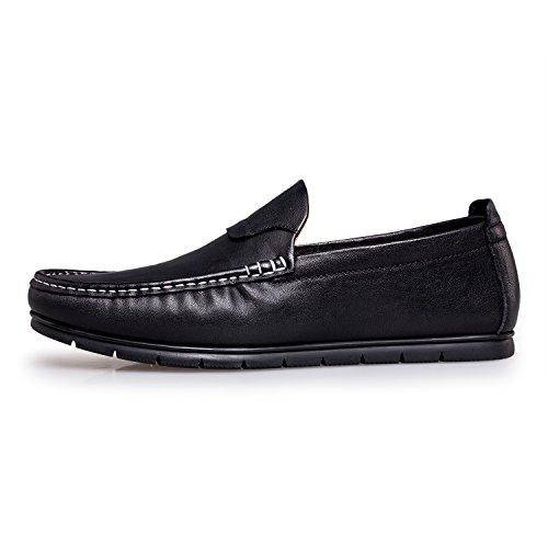 Zro Mens Appartements En Cuir Slip Sur La Conduite Des Mocassins Occasionnels Bateau Chaussures Noir