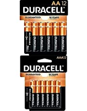 Duracell CopperTop AA + AAA Batteries Combo Pack | AA 12 Count + AAA 12 Count | Long Lasting, All-Purpose Double A and Triple A Battery | Ideal for Household and Office Devices