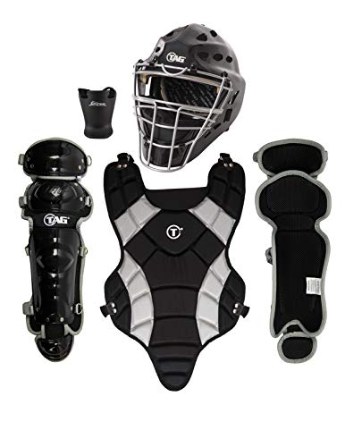 (TAG Youth Catchers Set, Battle Gear Series - Helmet, Throat Protector, Body Protector, Leg Guards (Ages 9-12))