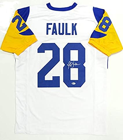 low priced 08dde f1101 Marshall Faulk Autographed White Pro Style Jersey- Beckett ...