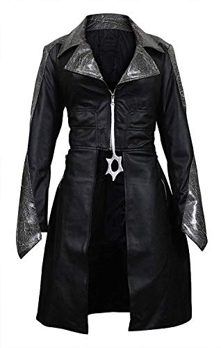 Womens Killer Snow Black Danielle Panabaker Caitlin Frost Halloween Costume Faux Leather Coat ()