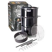 Räuchertonne schwarz XXL Smoking Barrel ✔ Deckel ✔ rund ✔ tragbar ✔ stehend grillen ✔ Grillen mit Holzkohle