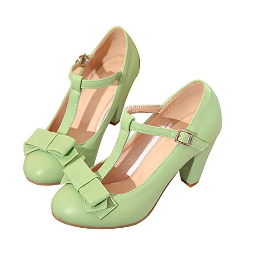 Mary Adjustable Buckle Jane (Susanny Women's Chic Sweet Round Toe T-Strap Bows Adorable Buckle High Cone Heel Mary Janes Dress Green Pumps 6 B (M) US)