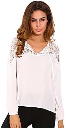 ZANZEA Women's Lace Crochet V Neck Long Sleeve Casual Loose Shirt Tops Blouse