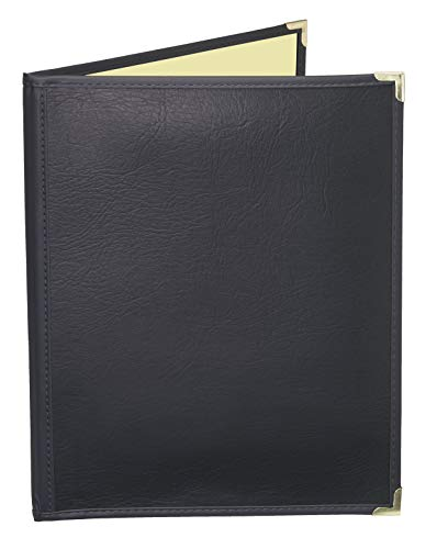 JR SALES CORP, FlexMC-A2V811, 25 Pack of Premium semi-flexible Menu Covers with inside café style pockets, Soft leather-like supported cover with crystal clear vinyl inside pockets. Two pocket booklet with 2 views. Holds 8.5