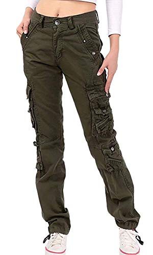 NAWONGSKY Women's Outdoor Utility Military Loose Fit Cargo Pants with Pockets, Army Green, Tag 34 = US (8-10)