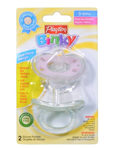Lot of 6 Playtex Pink and White Binky Pacifier BPA Free Silicone Baby 0-6m+