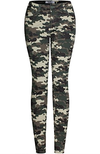 2LUV Women's Trendy Distressed 5 Pocket Denim Skinny Jeans Camo Olive Camo 9