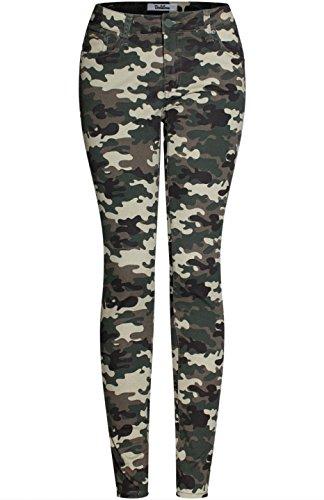 2Luv Womens Trendy Distressed 5 Pocket Denim Skinny Jeans Camo Olive Camo 7