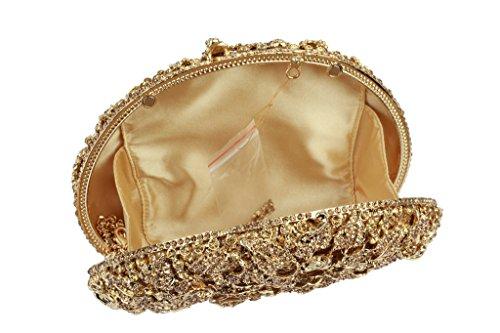 Yilongsheng Las mujeres de Cristal Flores bolsos de tarde oro