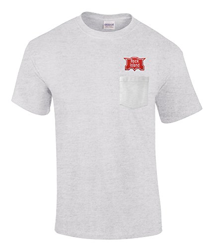 Chicago Rock Island Embroidered Pocket Tee Ash Adult S - Chicago Ri