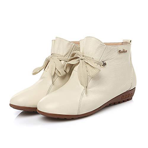 Cuero Otoño Invierno Yan Pisos Do De Ocasionales Para Cabeza Mujer Bajo Caminar Botas Redonda Zapatos Tacón diarios EvvqPx4