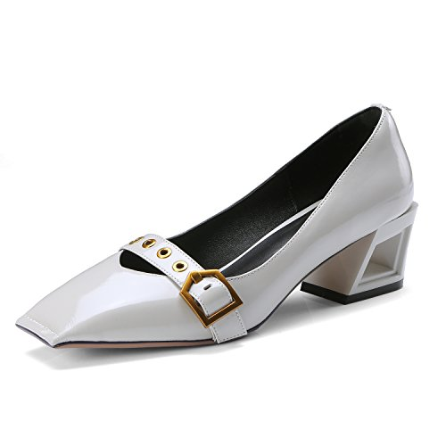 JIEEME Ladies Sexy Block Heels Genuine Leather Black Yellow Mid Heels Casual Women Court Shoes Grey