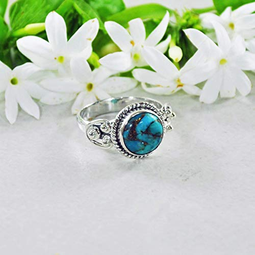 Sivalya 925 Sterling Silver 10mm Round Natural Blue Turquoise Gemstone Handcrafted Ring - Size - Ring Handcrafted Turquoise