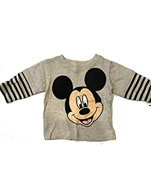 Disney Boys' Mickey Mouse Striped Skater-Sleeve Tee