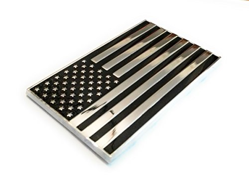 Military Army Chrome Metal Decal Auto Emblem (US Flag) (Badge Emblem Flag)