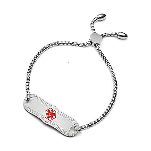 BBX JEWELRY Silver Plated Medical Alert Bracelets for Women Girls Adjustable Length 5-8.5 inches