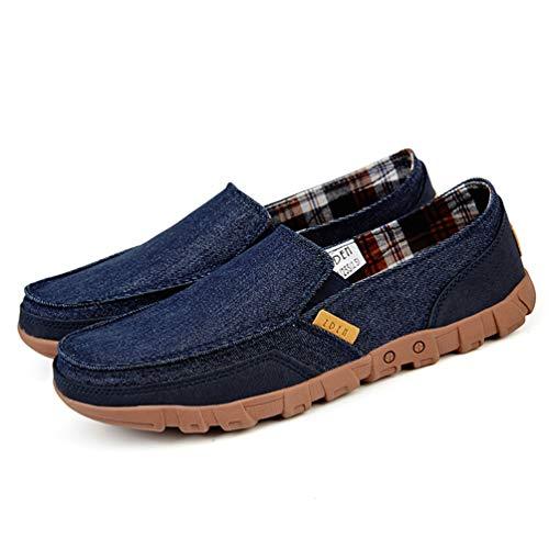 Mocasines Cómodo hasta Luz Casuales Sólido Azul Zapatos Lona Encaje De Hombre Verano Masculino qWFOOX41wz