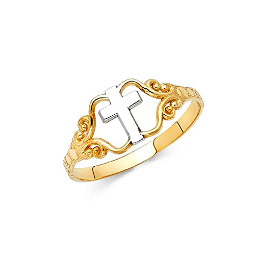 Ioka - 14K Two Tone Solid Gold Cross Ring - size 5 (Two Tone Gold Cross Ring)