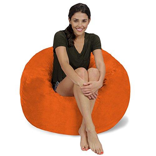 - Chill Sack Bean Bag Chair: Large 3' Memory Foam Furniture Bean Bag - Big Sofa with Soft Micro Fiber Cover - Orange Micro Suede