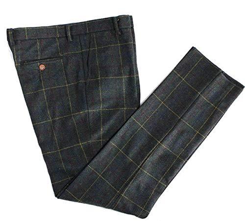 (Mens Premium Wool Blend Tweed Herringbone Slim Fit Check Plaid Casual Suit Separate Pant)