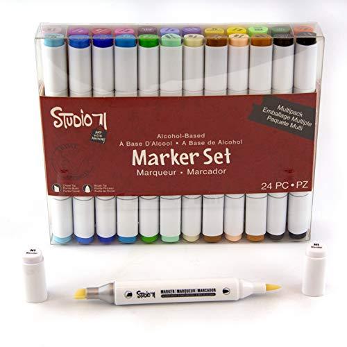 (Studio 71 24 Piece Dual Tip Alcohol Marker Set and Blender: 2 Item Bundle)