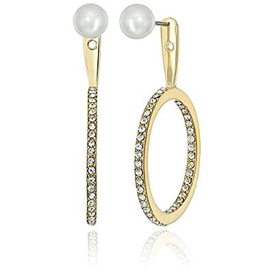 Hot Kate Spade New York Womens Shine On Pearl Hoop Ear Jackets Earrings FAtNBNWp