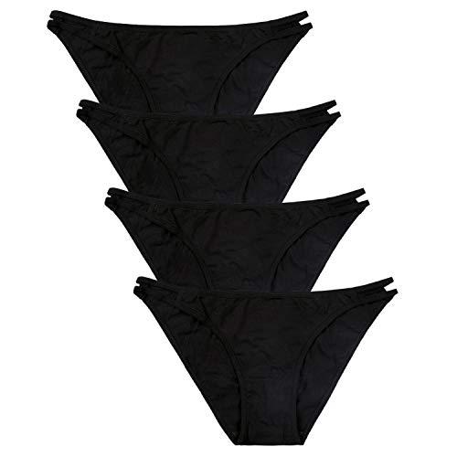 - CharmLeaks Womens Cotton Underwear Black Panties String Bikini Panties M