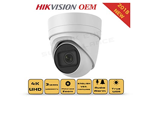 4K PoE Security IP Camera - Compatible with Hikvision DS-2CD2H85FWD-I UltraHD 8MP Vari-Focal EXIR Turret Onvif Weatherproof 2.8-12mm Motorized Lens Best for Home and Business Security 3 Year Warranty ()