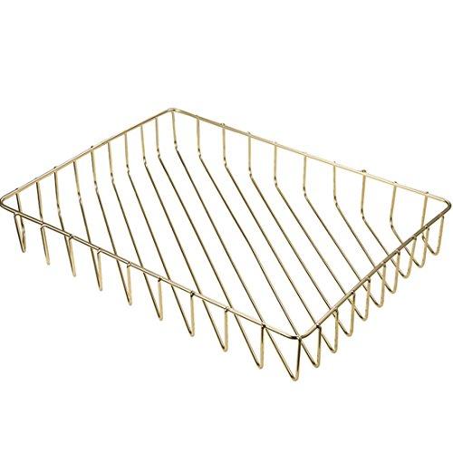 "Prime Leader Metal Wire Mesh Storage Organizer Basket for Desktop Clothing Fruit Snacks Tray Kitchen Tool Holders Golden 12.5""x9.4""x1.8"""