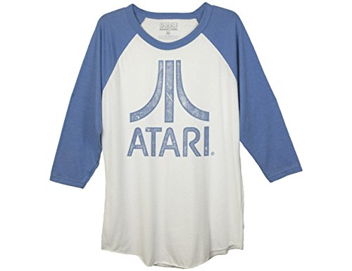 Ripple Junction Atari Super Distressed Atari Logo Adult Baseball Raglan 3/4 Sleeve XL White/Royal