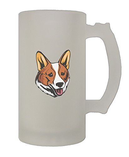 Welsh Corgi Cardigan Head 16 Oz Frosted Glass Stein Beer (Welsh Corgi Head)
