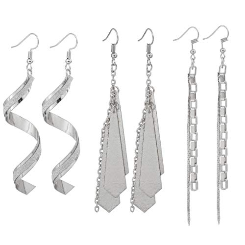 (Long Statement Dangle Earrings Sets - Scrub Twist Spiral Geometric Earring Tassel drop Earring Jewelry for Womens Silver Tone 3 Pairs)