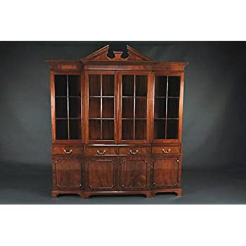 4 Door Breakfront Brown Mahogany China Cabinet